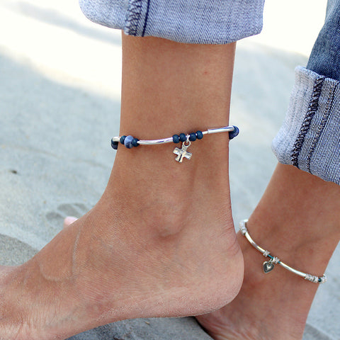 Indigo anklet, cross charm included