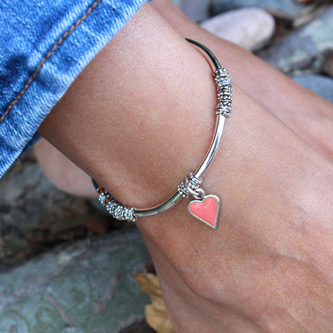 Kiko anklet shown with the hand painted enamel Coral heart charm, sold separately