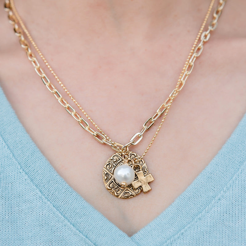 Leighton Double Gold Chain Necklace with Pearl and Cross Pendant