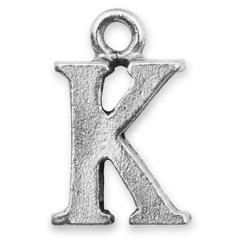 Silver Initial K Charm