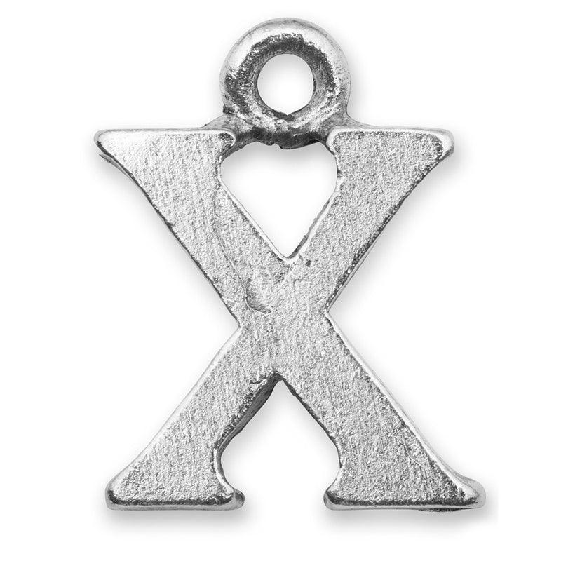 Silver Initial X Charm
