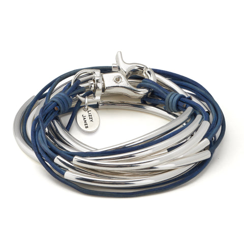 Lizzy Classic silverplate 5 strand wrap bracelet in natural true blue leather