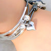 Shiny silver heart charm as shown on the  Friendship Wrap in metallic silver leather