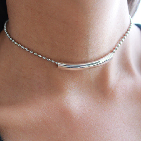 Louise choker with stainless steel chain silverplate crescent
