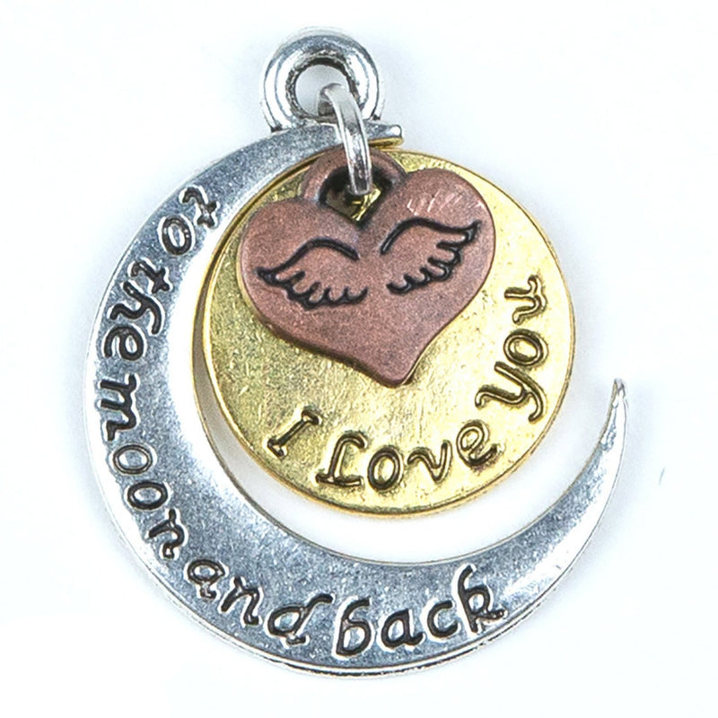 Love You to the Moon and Back Tricolor Pendant