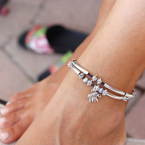 bracelet in gold elements plating swarovski charm gg anklet deals white ankle