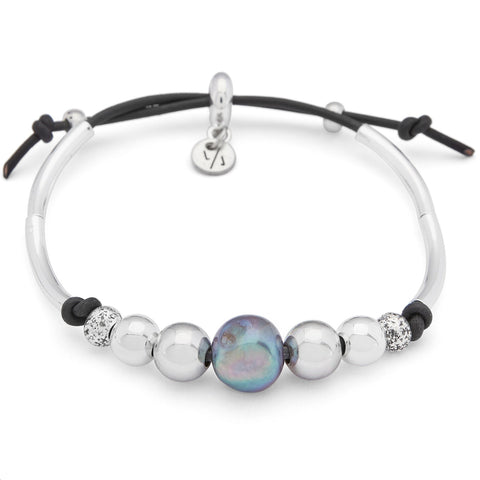 Mila Adjustable Bracelet with Pearl in black leather