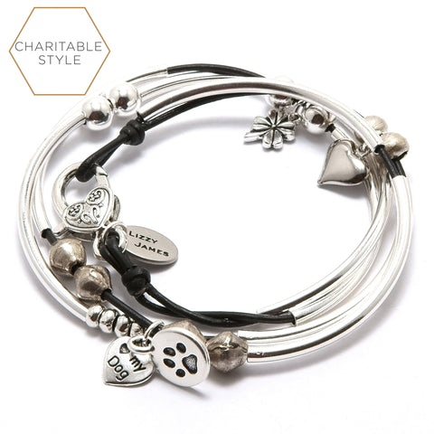 mini lucky silver charm bracelet with heart, clover, i love my dog and round paw charms