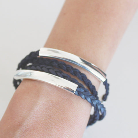 Mini Addison Silverplate wrap bracelet in Natural Pacific leather