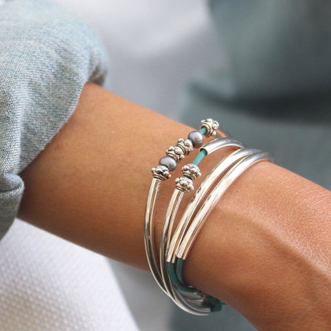 Mini Charmer Add Your Charm Choice wrap bracelet in metallic teal leather