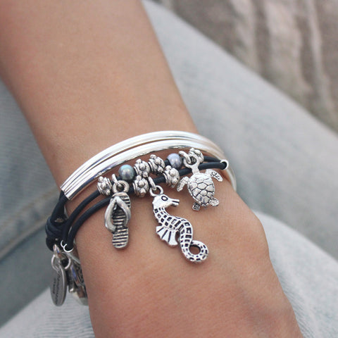 Mini Charmer wrap bracelet with Flip Flop Sandal Seahorse Turtle charms, comes as shown with charms attached