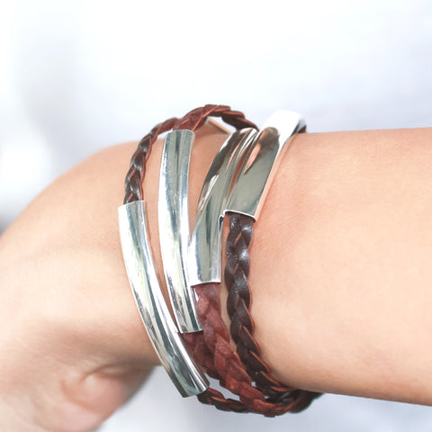 Mini Addison Silverplate wrap bracelet in Natural Antique Brown leather