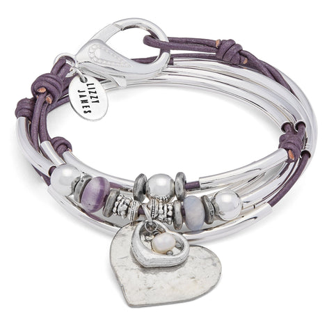Minnie Silver and Leather Wrap Bracelet with Pearls and Love Charms shown in metallic berry leather