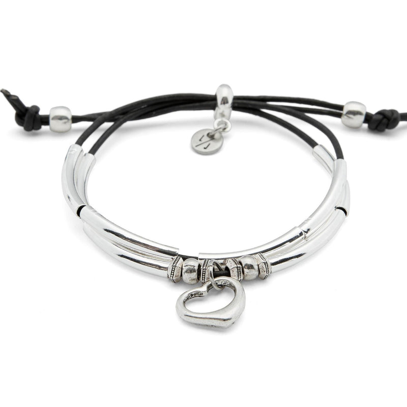 Sweetheart 2 Strand Adjustable Bracelet with Silver Open Heart Charm