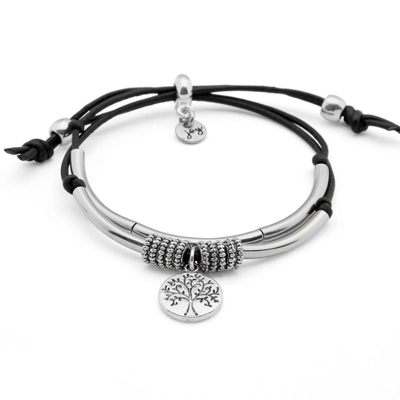 Nature 2 Strand Adjustable Bracelet with Tree of Life Charm