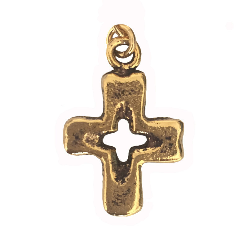 Open Cross Charm Gold