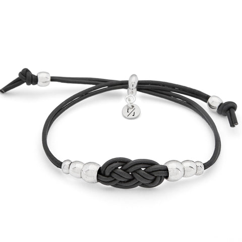 Presley Adjustable Silver Bracelet in Black Braided Leather