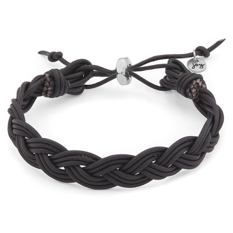 River Adjustable Braided Black Leather Bracelet