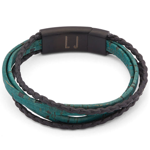 Roxy Unisex Cork and Leather 4 Strand Wrap Bracelet shown in teal