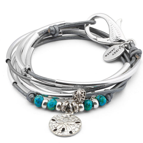 Sandy Silver and Leather Wrap Bracelet Necklace with Sand Dollar Charm