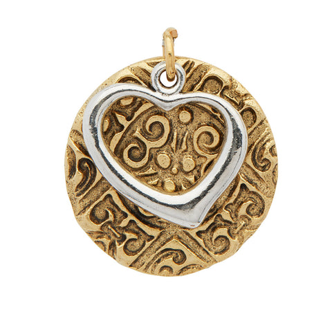 Silver Heart Golden Medallion Pendant