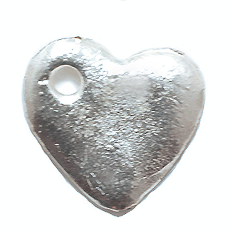 Silver Hammered Heart Charm