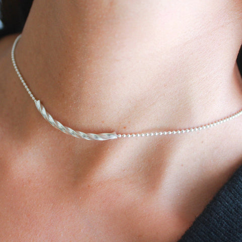 Thelma Adjustable Choker with Sterling Silver Crescent on Stainless Steel Chain