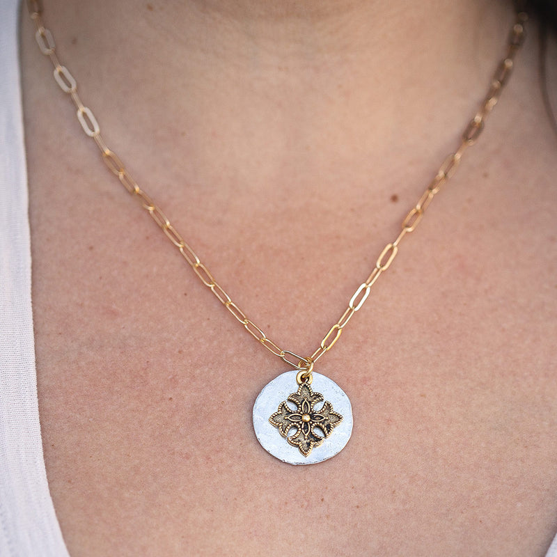Toujours Gold Adjustable Necklace with Florentine cross Pendant