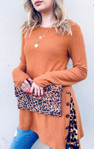 Camel animal print side detail tunic