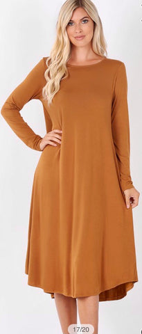 Coffee Midi Dress with Pockets