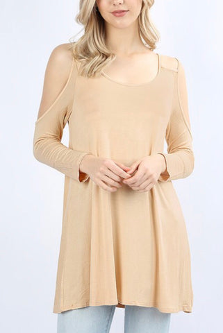 Flirty Fall Cold Shoulder - Sand