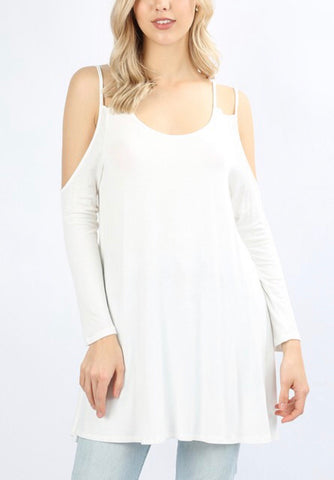Flirty Fall Cold Shoulder - Ivory