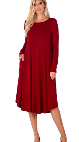Cabernet midi dress with pockets