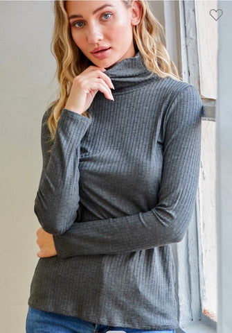 Charcoal mock ribbed turtle neck