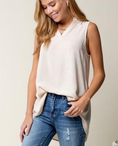 Neutral collard back button down top
