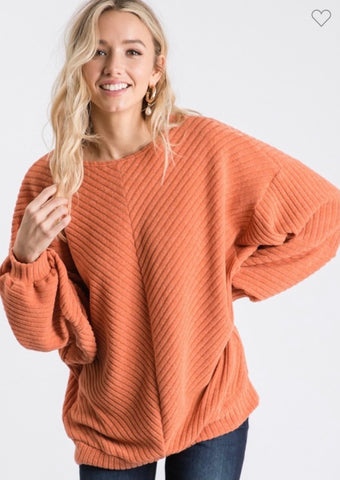 Orange chevron ribbed cozy sweater