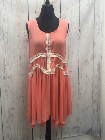 Coral Lace Detail Dress