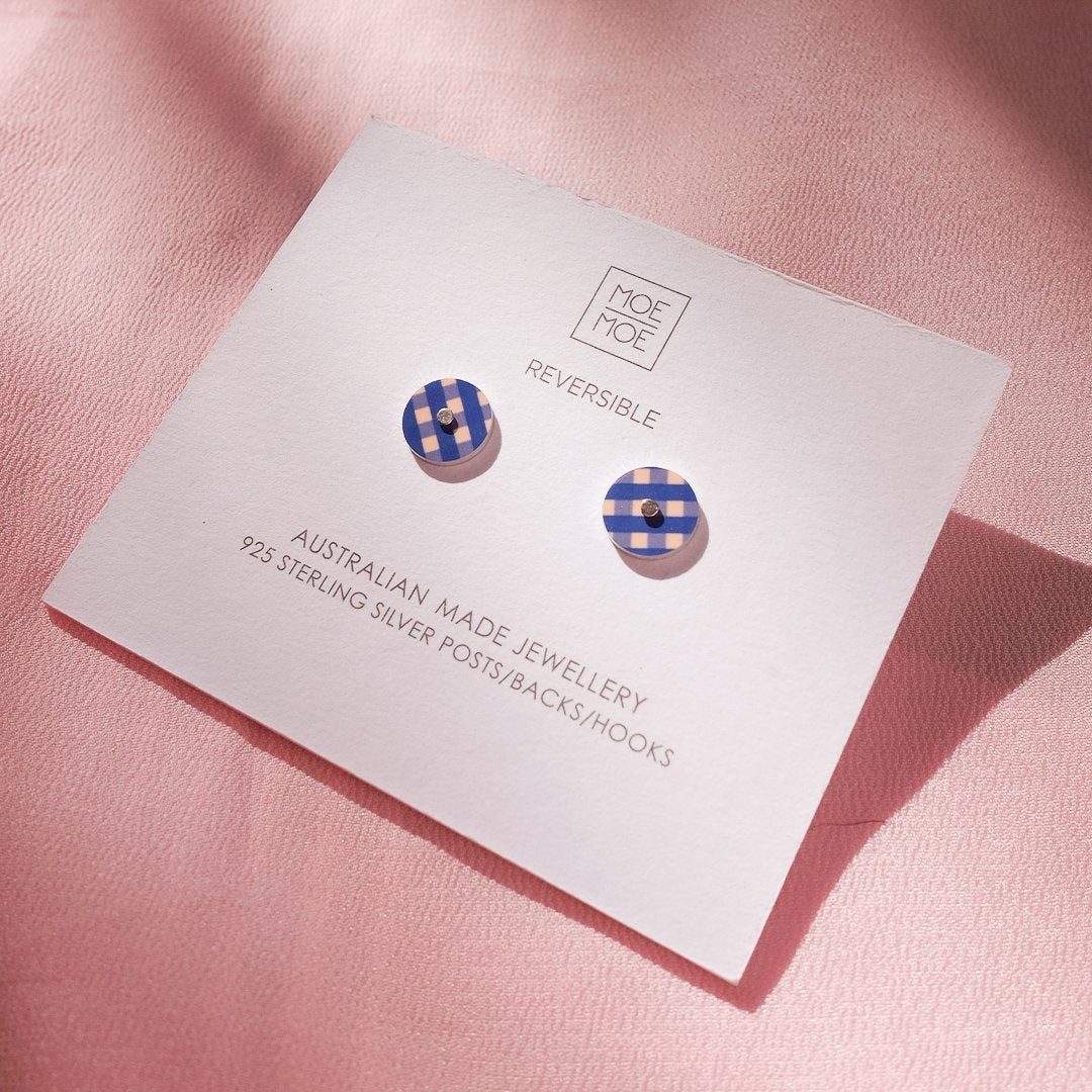 Indigo Gingham Mini Circle Stud Earrings