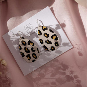 Black Lined Leopard Medium Tear Drop Earrings