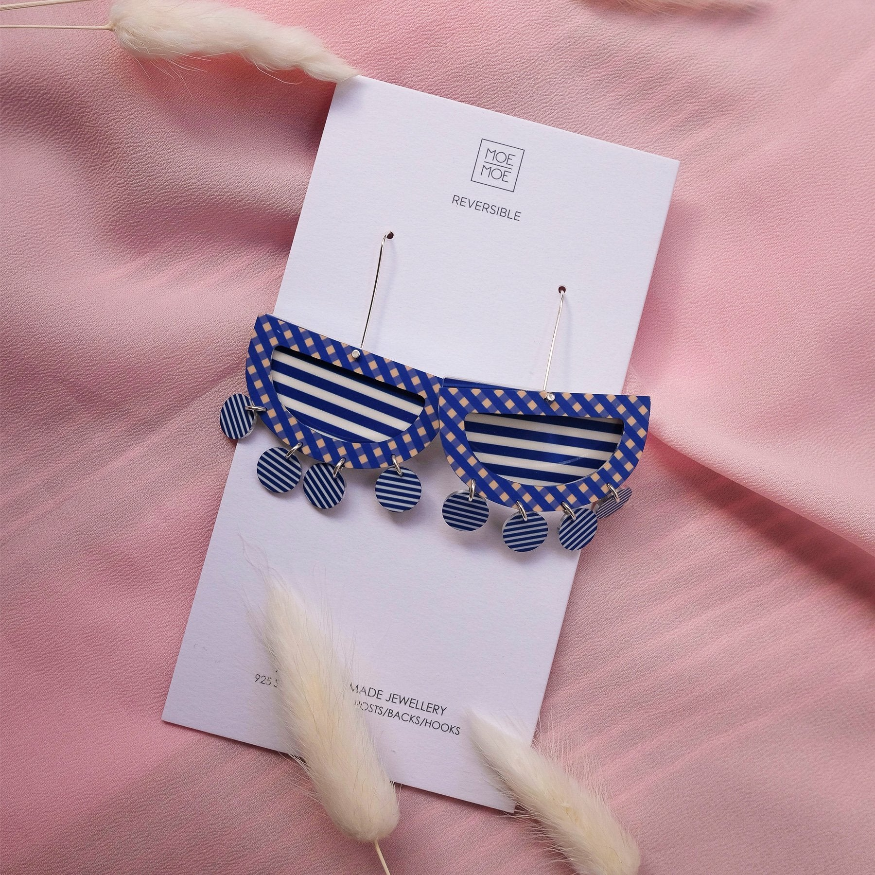 Indigo Striped Gingham Layered Moon Outline Long Drop Earrings