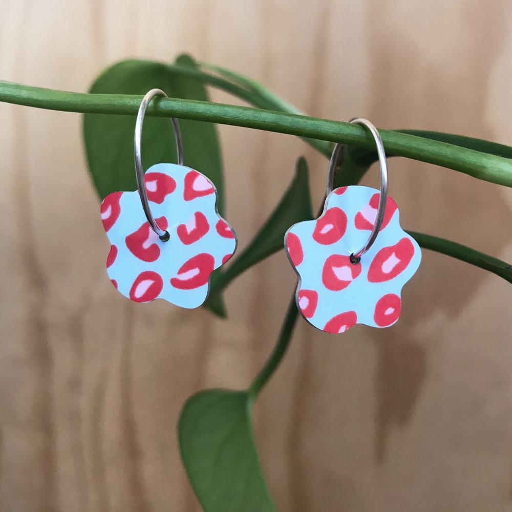 Red Lined Leopard Small Flower Hoop Earrings