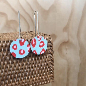 Red Lined Leopard Circle Long Drop Earrings