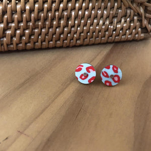 Red Lined Leopard Mini Circle Stud Earrings