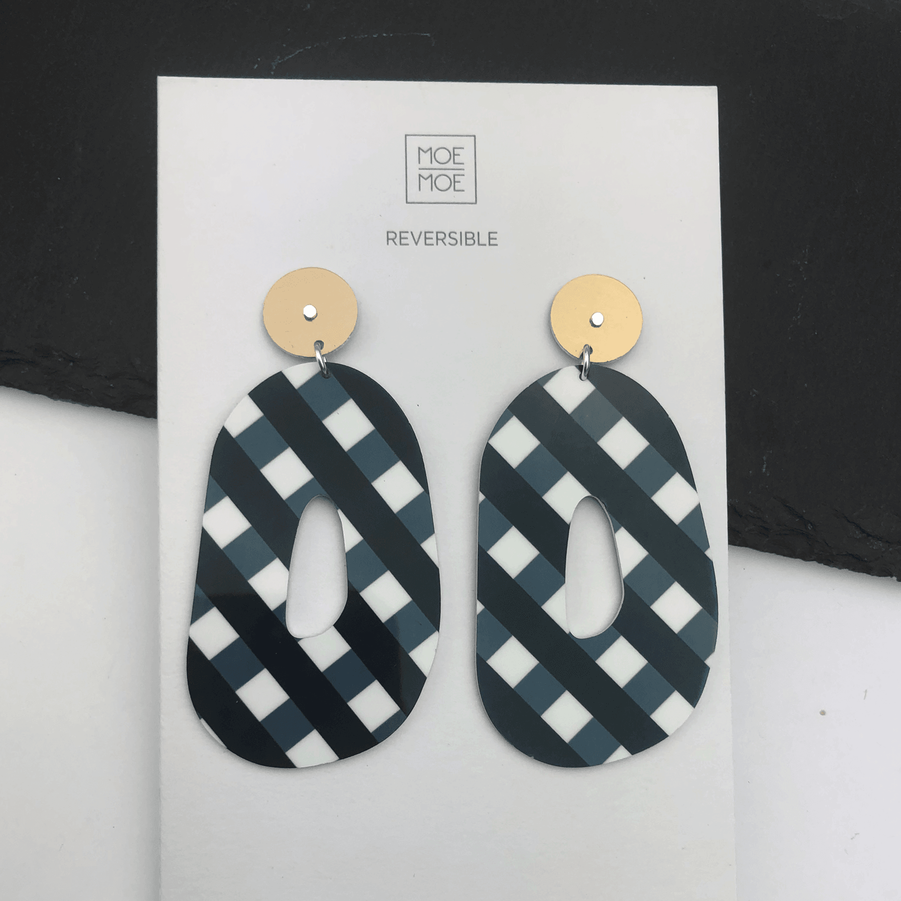 Ebony Striped Gingham Large Organic Circle Stud Earrings