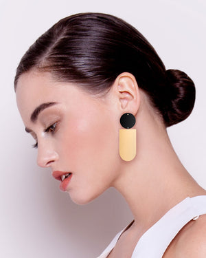 Signature Asymmetrical Tab Stud Earrings