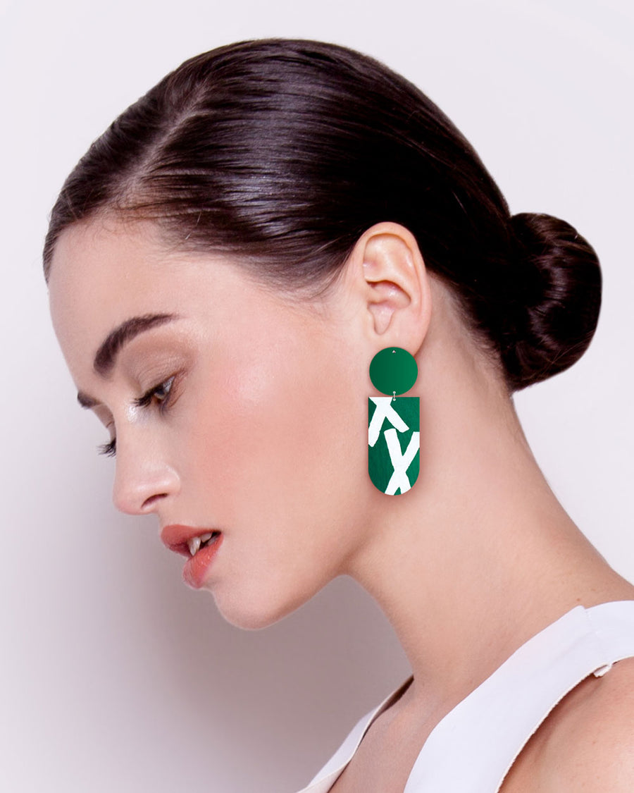 Earth Joan Blond Asymmetrical Tab Stud Earrings