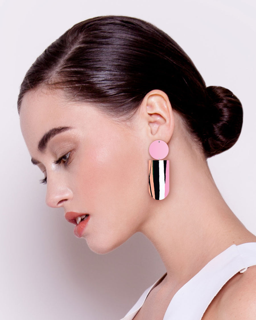 Sky Joan Blond Asymmetrical Tab Stud Earrings