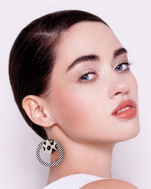 Black Lined Leopard Layered Circle Outline Long Drop Earrings