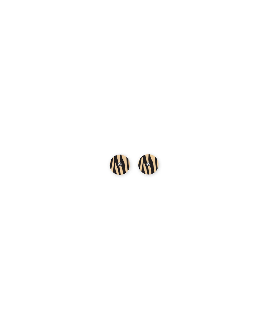 Reversible Creme Animal Print Mini Circle Stud Earrings