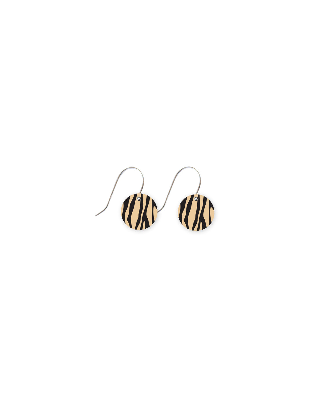 Creme Animal Print Small Circle Drop Earrings